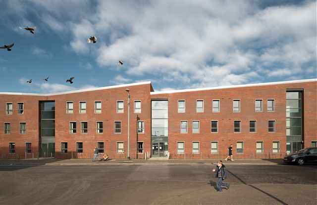 view of New Build Housing development by Anderson Bell Christie for Govan Housing Association