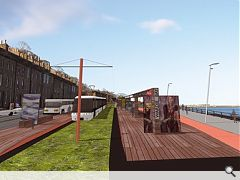 In 2004 the RIAS commissioned young practices to look at inventive solutions for Edinburgh's proposed tram system.  This shows Zone architects' proposals for the waterfront