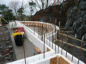 In-situ concrete insulated formwork as retaining and external walls