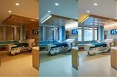 The visual. Images showing the practice of tuneable / cicadian light in a hospital enviroment